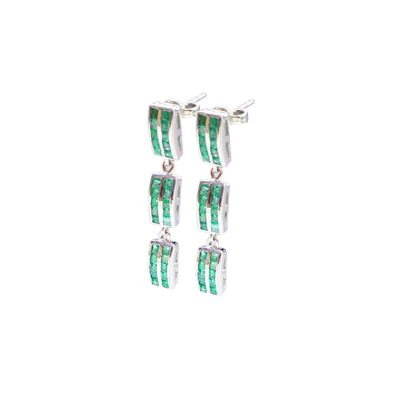 Emerald Baguette Chandelier Earrings
