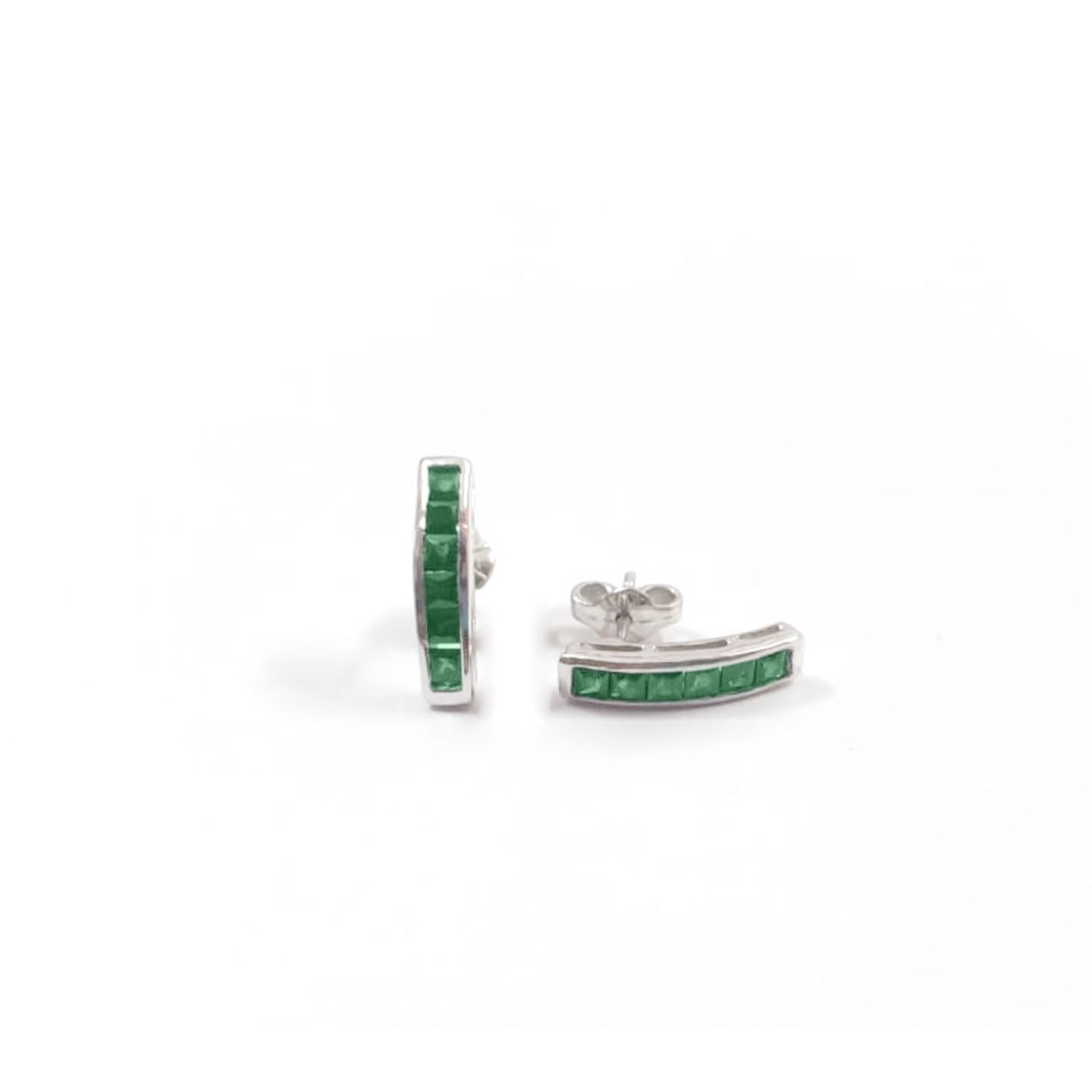 Emerald Baguette Sticks-Earrings-Jaipur Atelier