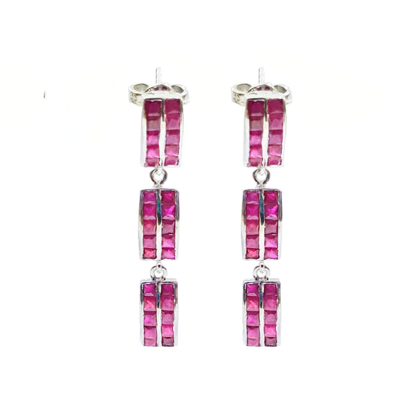Ruby Baguette Chandelier Earrings