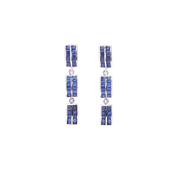 Sapphire Baguette Chandelier Earrings-Earrings-Jaipur Atelier