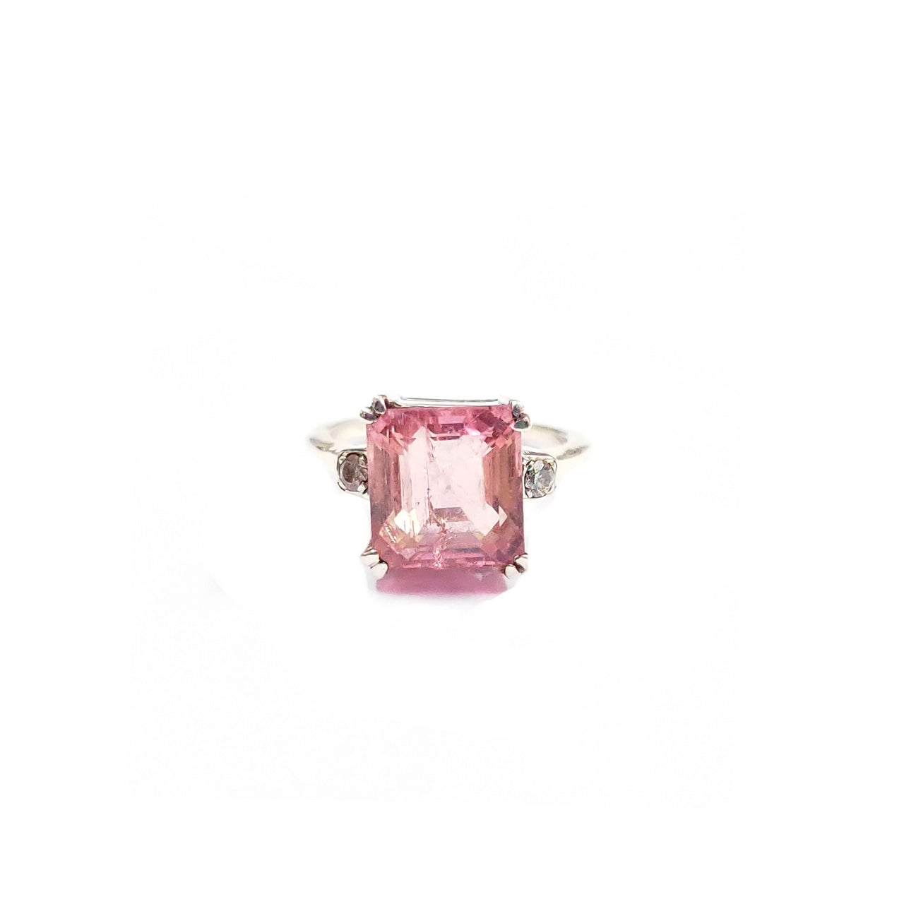 Pink Tourmaline Diamond Dress Ring-Ring-Jaipur Atelier