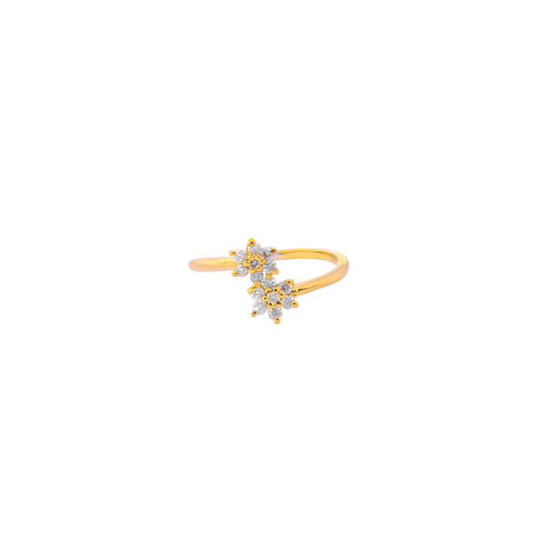 White Diamond Star Ring - CPC is this supposed to be gold?-Ring-Jaipur Atelier