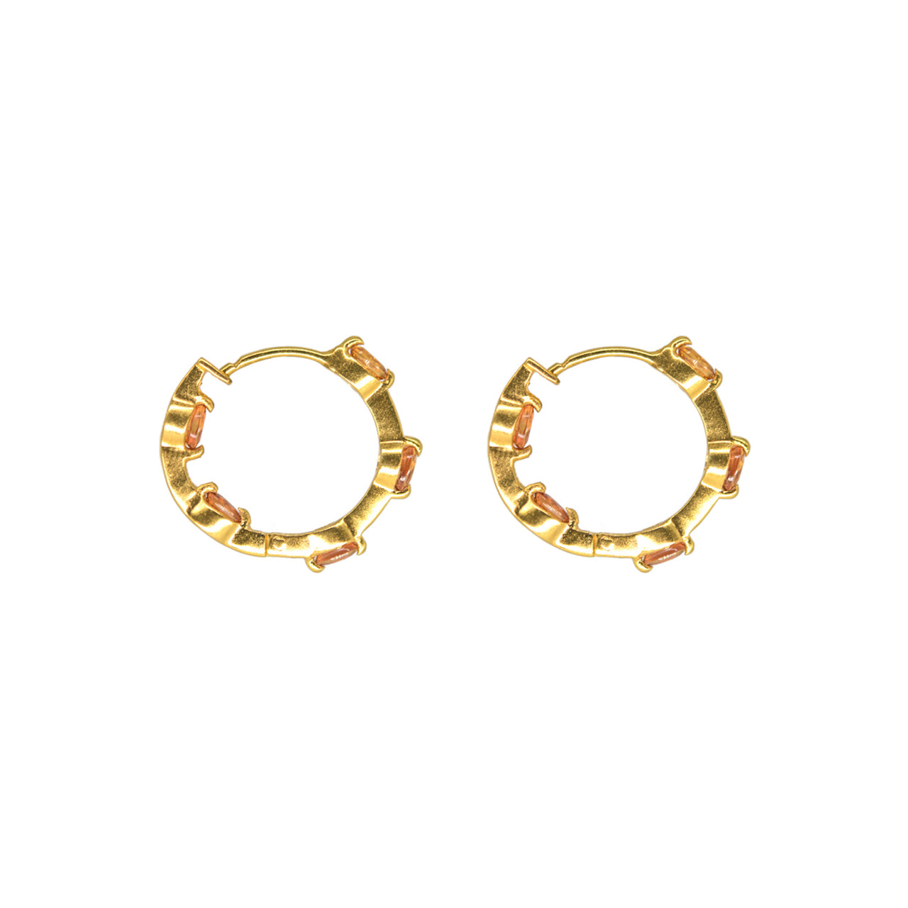 Sarah Orange Sapphire Hoop Earrings