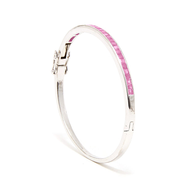 Pink Sapphire Baguette Bangle