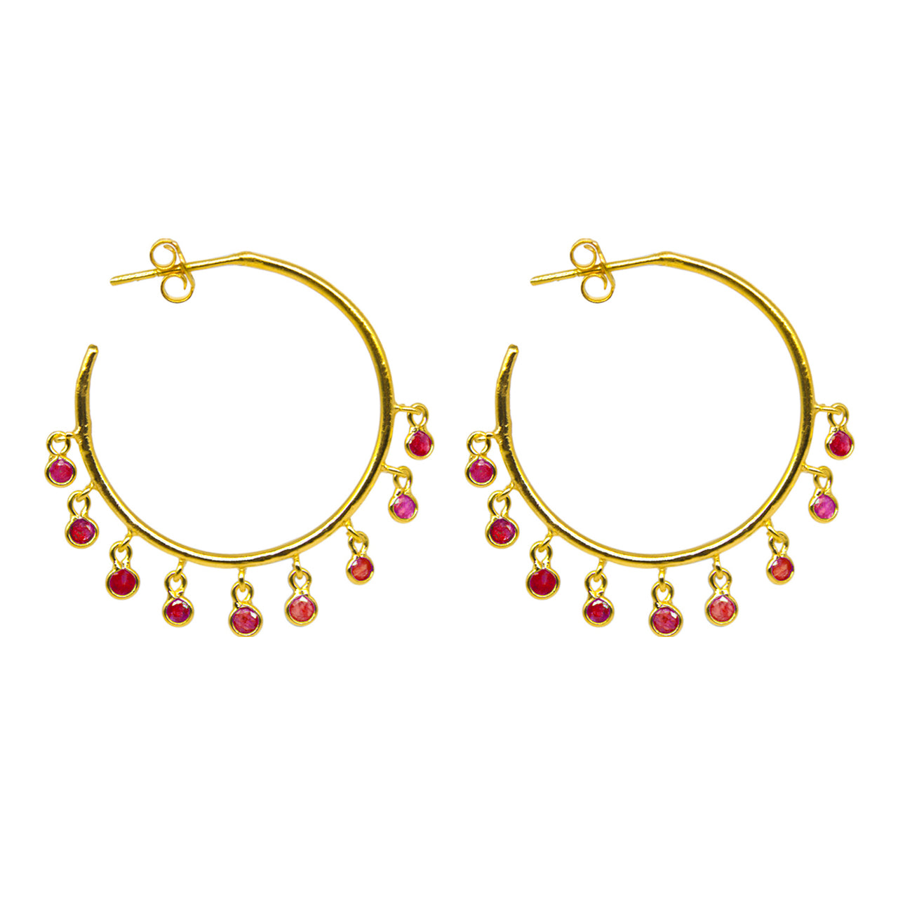 Jerry Ruby Hoop Earrings