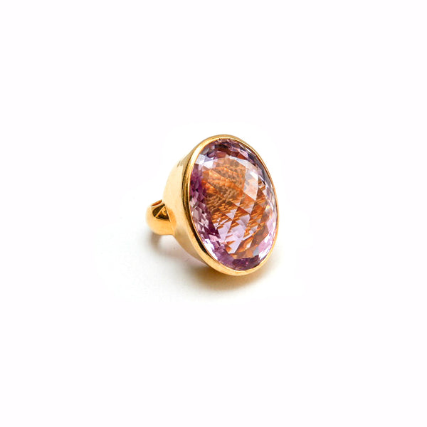 Checker Cut Pink Amethyst Cocktail Ring