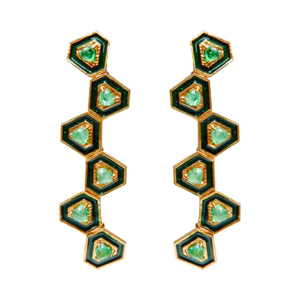 Emerald Hexagonal Enamel Drop Earrings