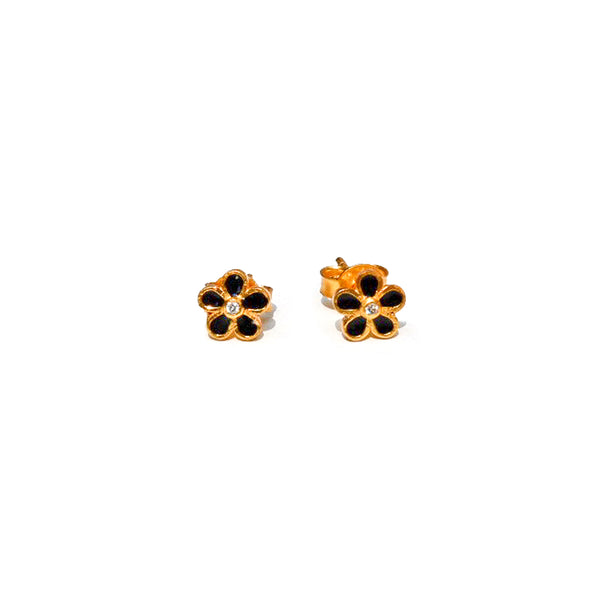 Black Enamel Boutique Flower Diamond Studs