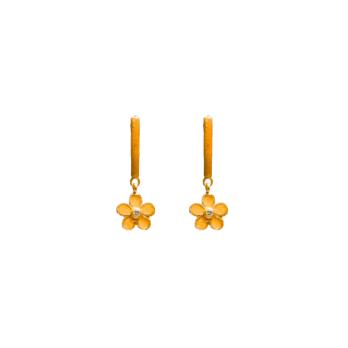 Petit Jai Yellow Enamel Diamond Flower Earrings