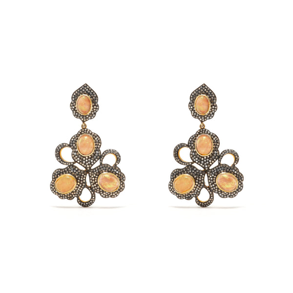 Opal Diamond  Floral Chandelier Earrings