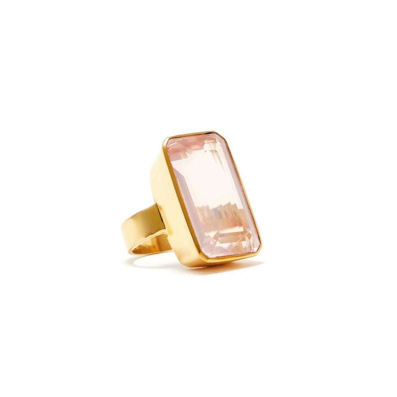 Jaipur Atelier The Helen Rose Quartz Emerald Cut Cocktail Ring