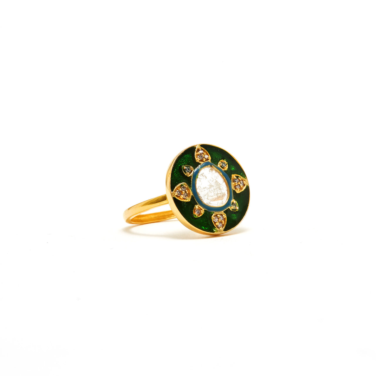 Jaipur Atelier Polki Diamond Emerald Cirque Ring