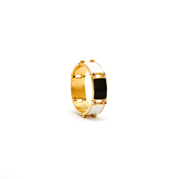 Jaipur Atelier White Block Enamel Diamond Band