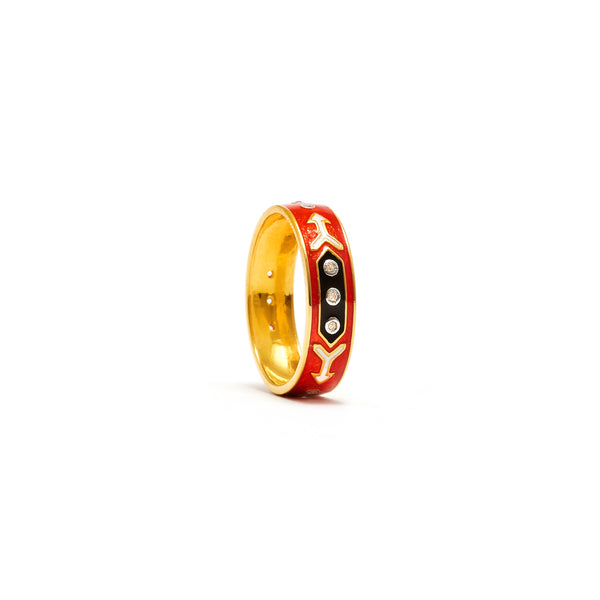 Jaipur Atelier Orange Arrow Enamel Diamond Band