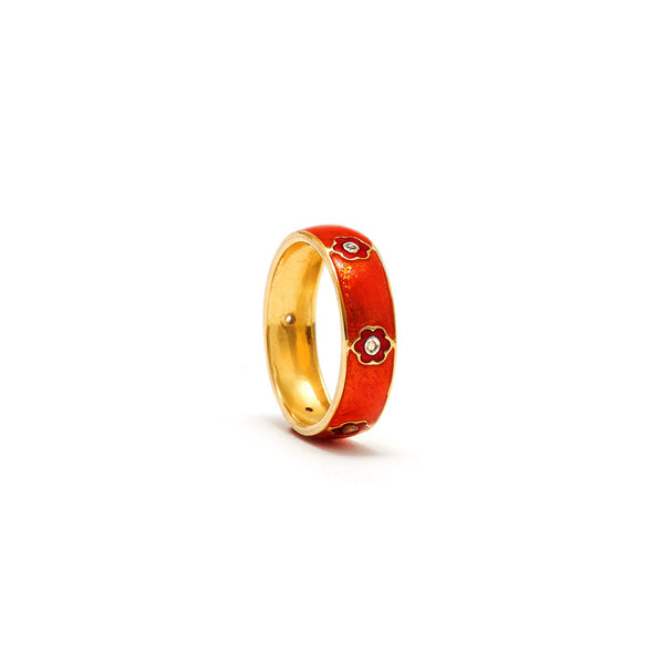 Orange Red Flower Enamel Diamond Ring