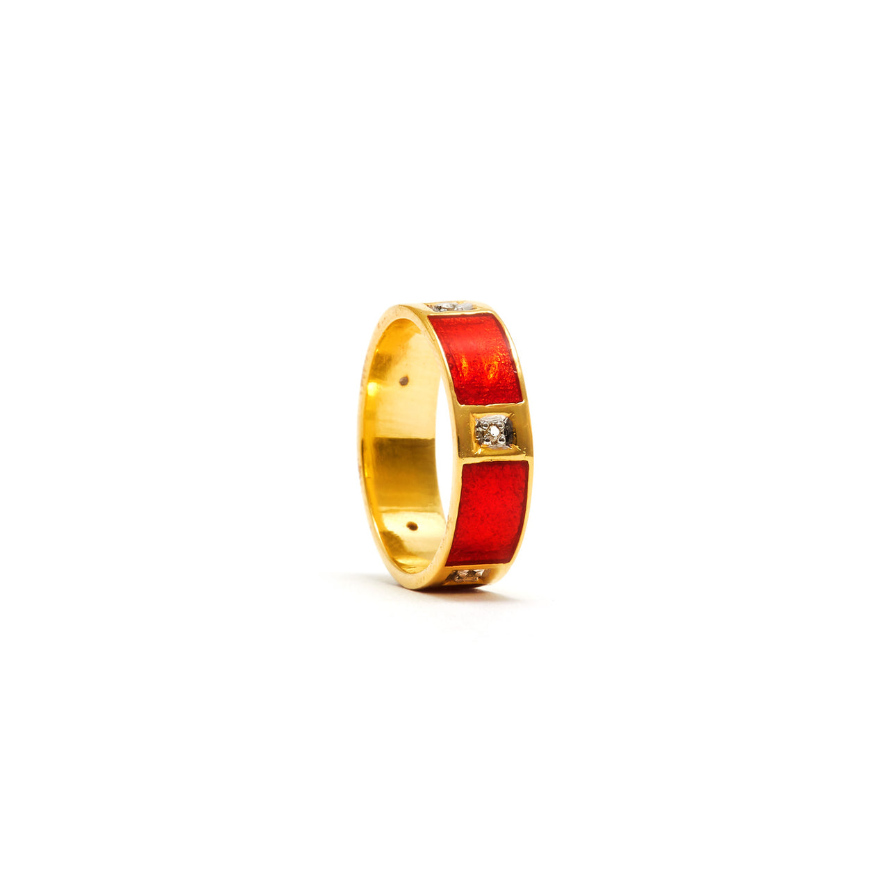 Jaipur Atelier Red Enamel Diamond Square Band