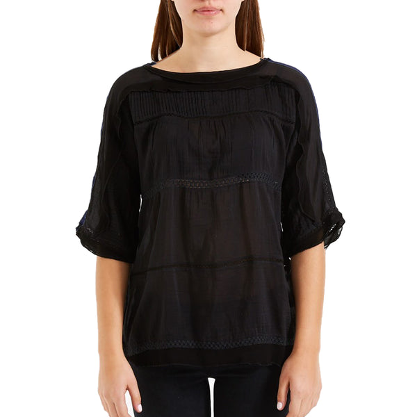 Lily Peasant Blouse – Black
