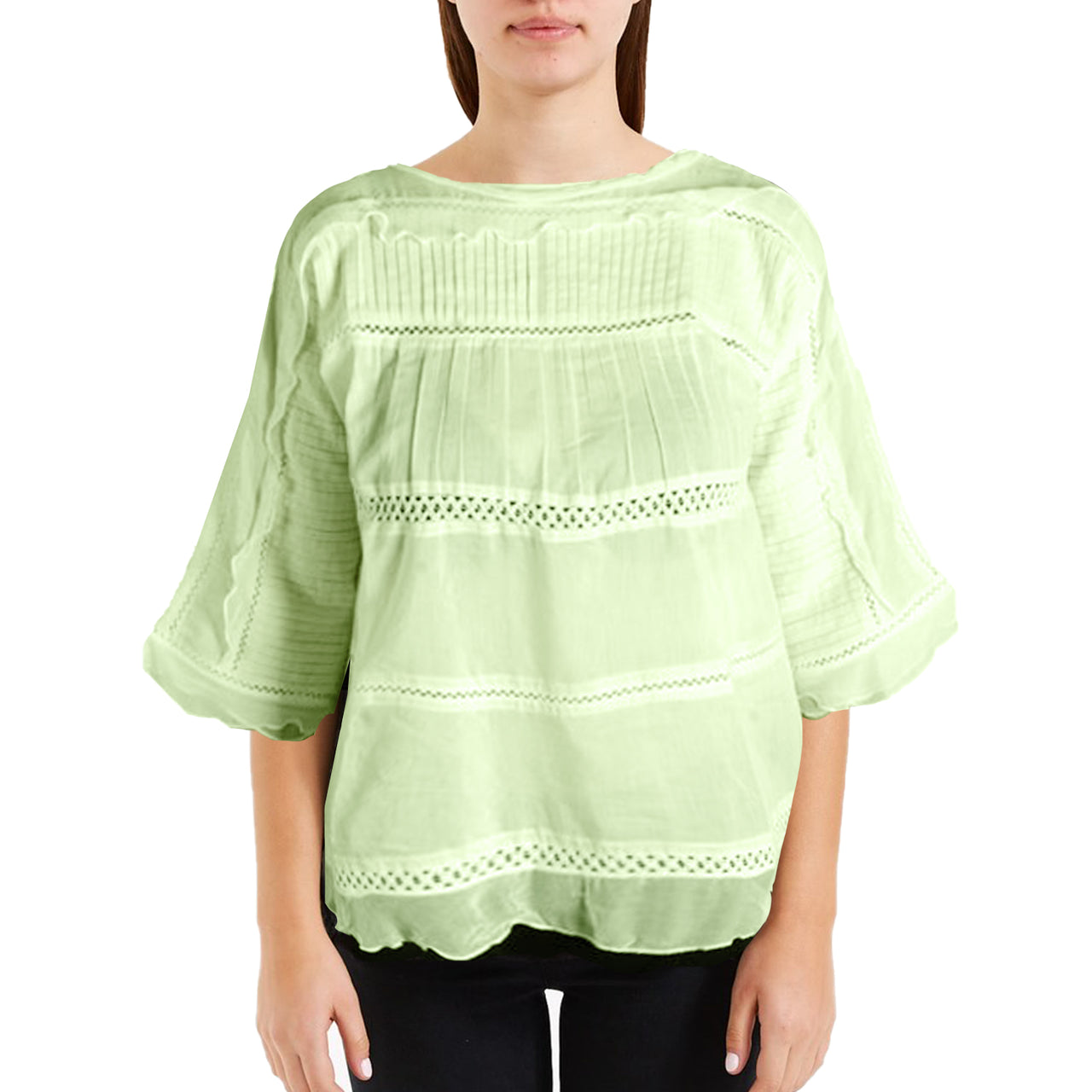Lily Peasant Blouse – Lime