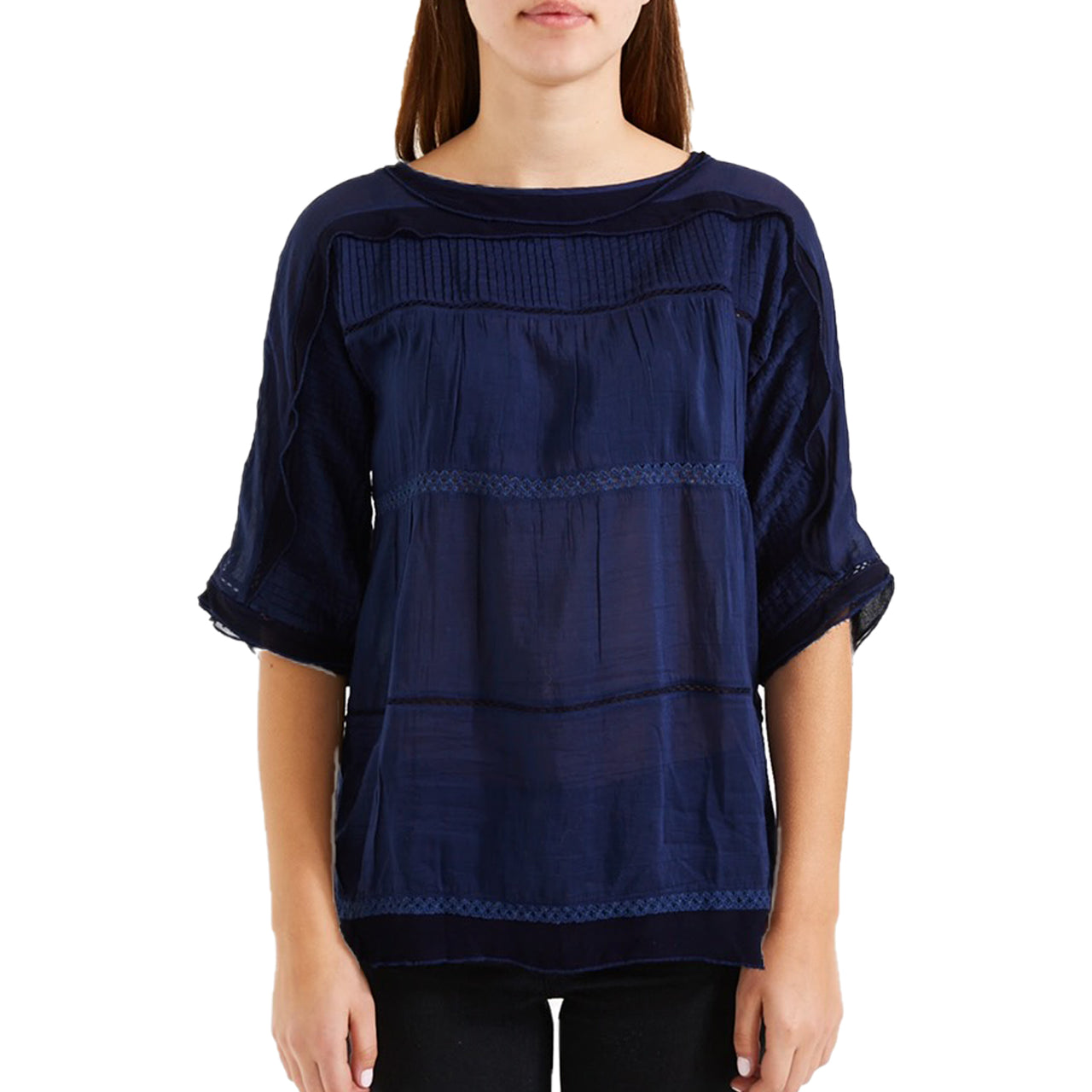 Lily Peasant Blouse – Navy
