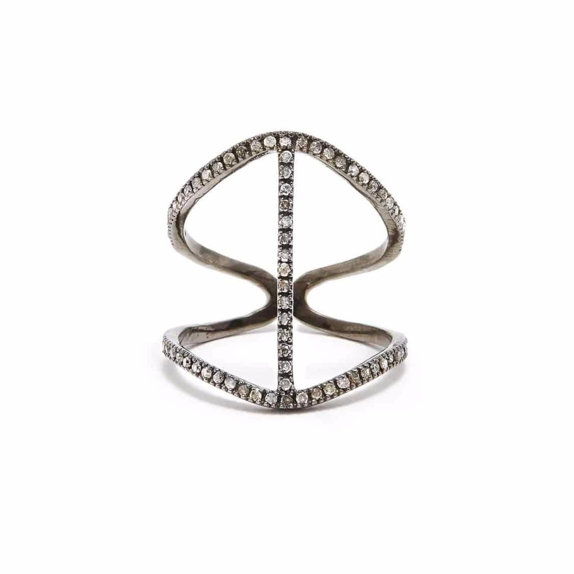 Abstract Grey Diamond Ring