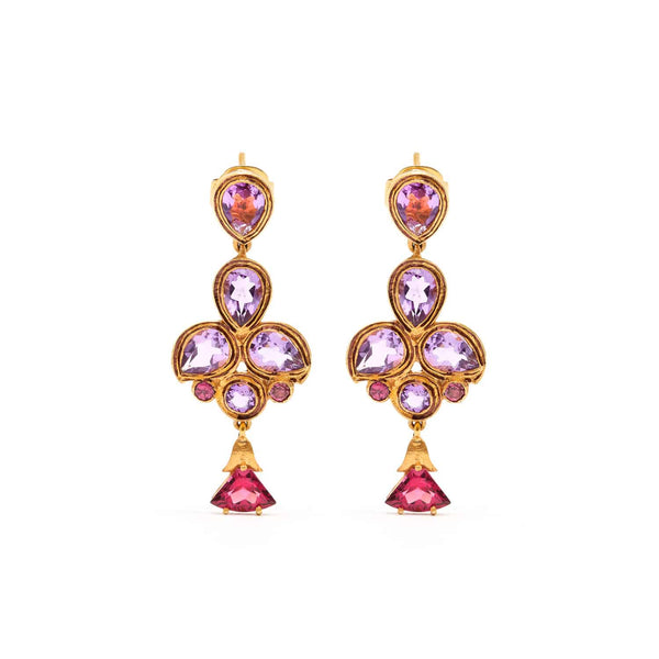 Jaipur Atelier Amethyst Garnet Chandelier Earrings
