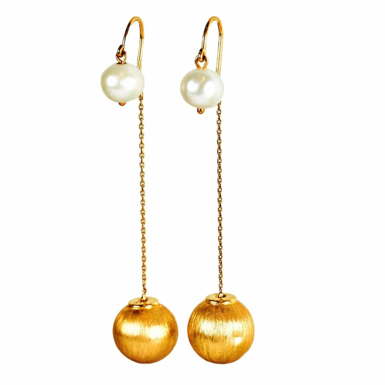 Ball & Chain Pearl Drop Earrings
