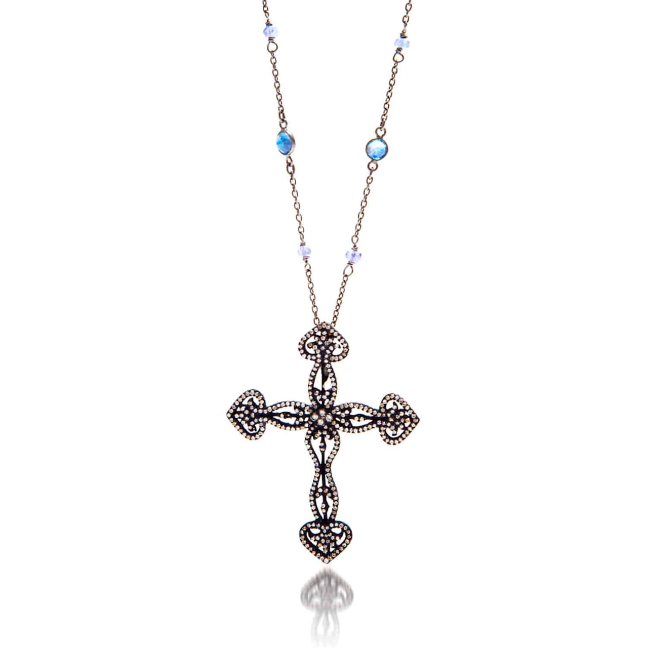 Jaipur Atelier Black & Blue Tanzanite & Diamond Cross