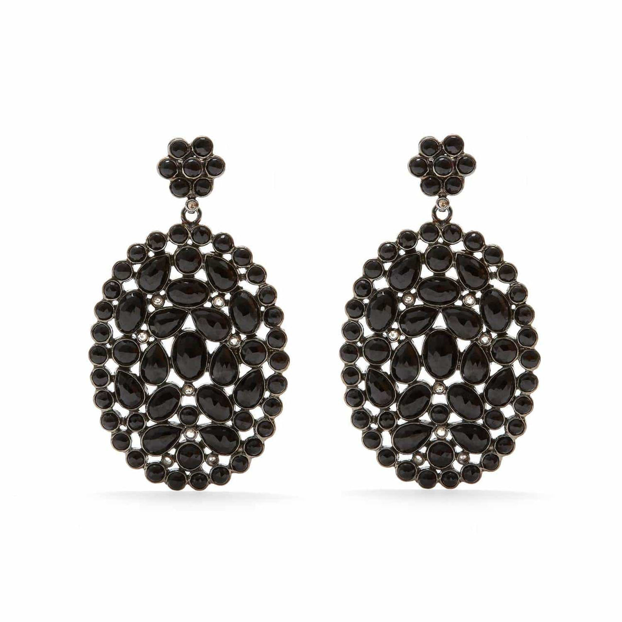 Jaipur Atelier 'DIAPHANOUS' BLACK SPINEL & DIAMOND OVALS