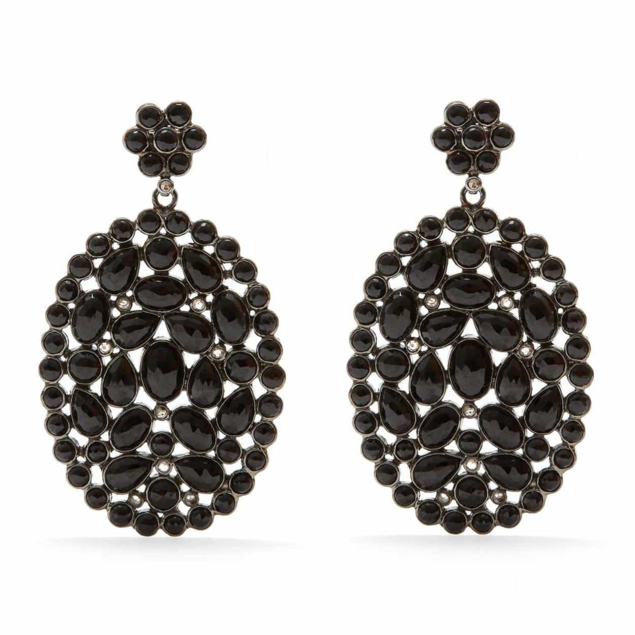'Diaphanous' Black Spinel & Diamond Oval Earrings