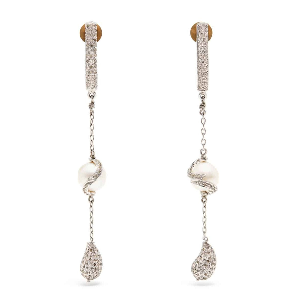 Diamond Chain Drop Snake Earrings