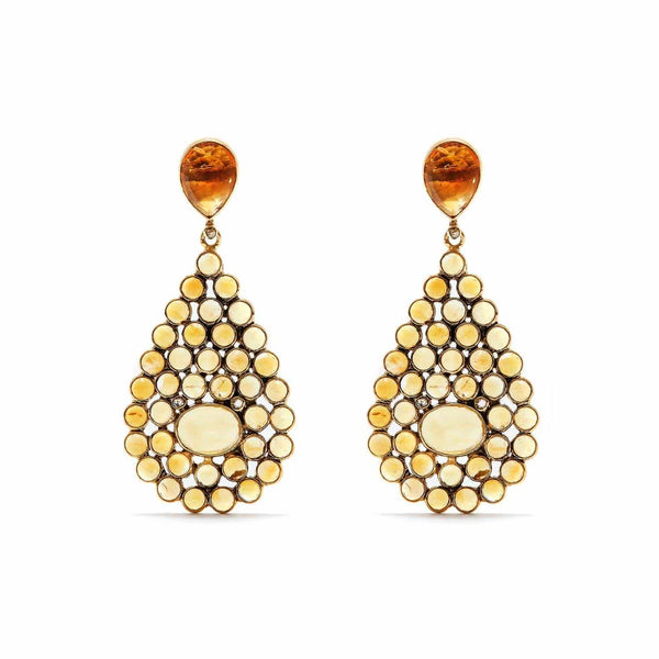 'Diaphanous' Citrine & Diamond Tear Drops