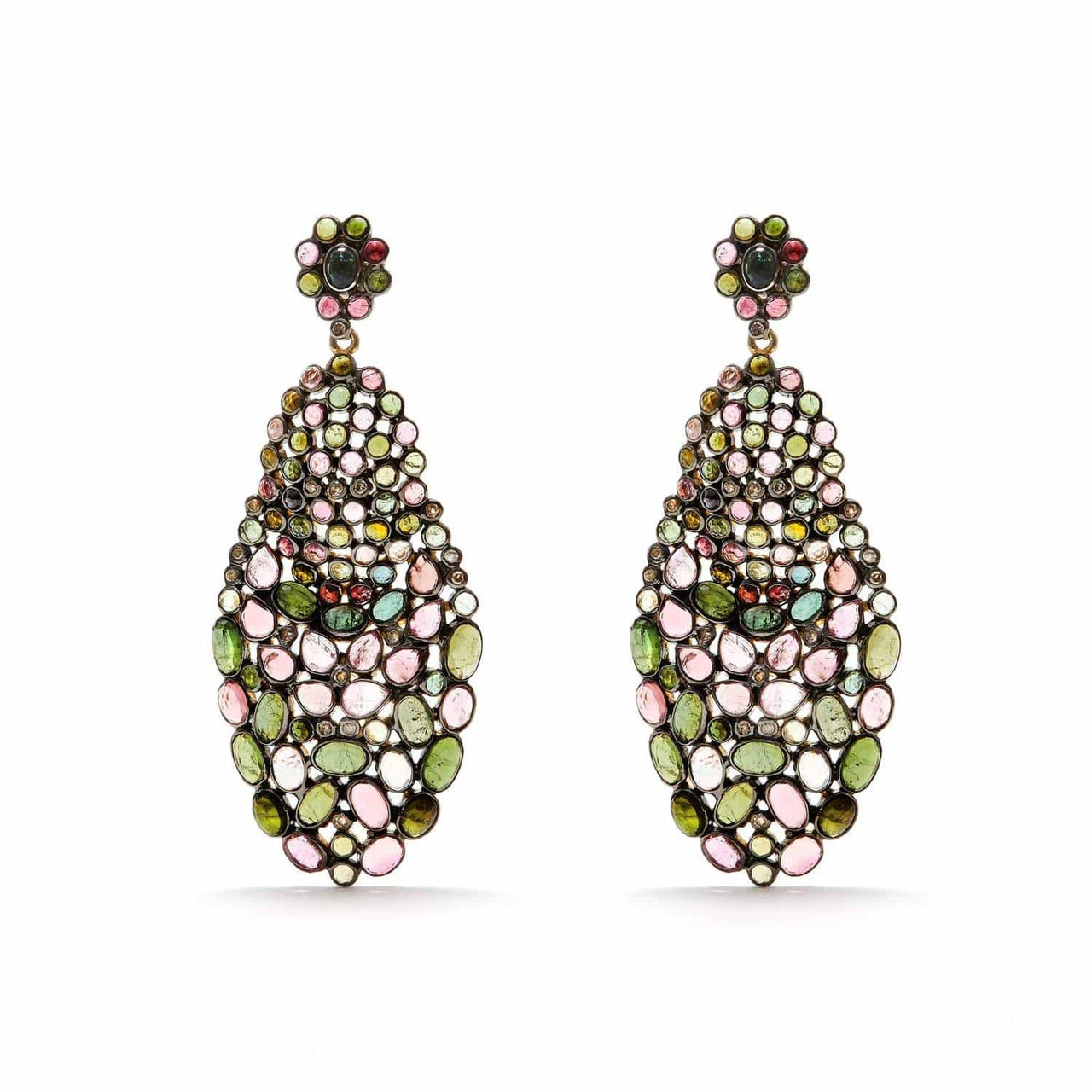 Jaipur Atelier 'Diaphanous' Multicolor Tourmaline & Diamond Tear Drops