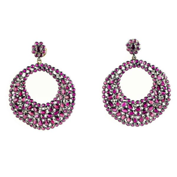 'Diaphanous' Pink Ruby Diamond Hoops