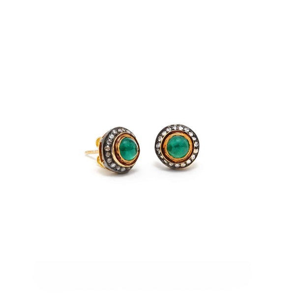 Emerald Cabochon Diamond Studs