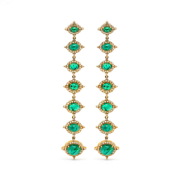 Jaipur Atelier Emerald Diamond Chain Earrings