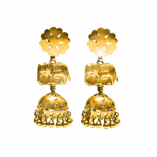 Gold Elephant Chandelier Earrings