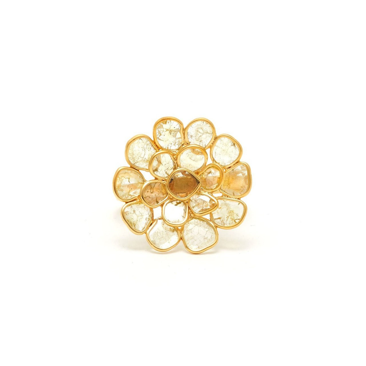 Golden Diamond Diaphanous Concave Petal Ring