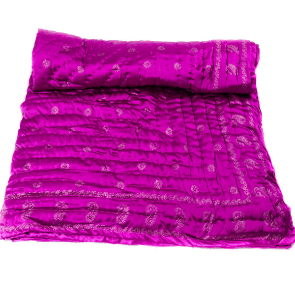 Purple Magenta Silk Block Print Quilt