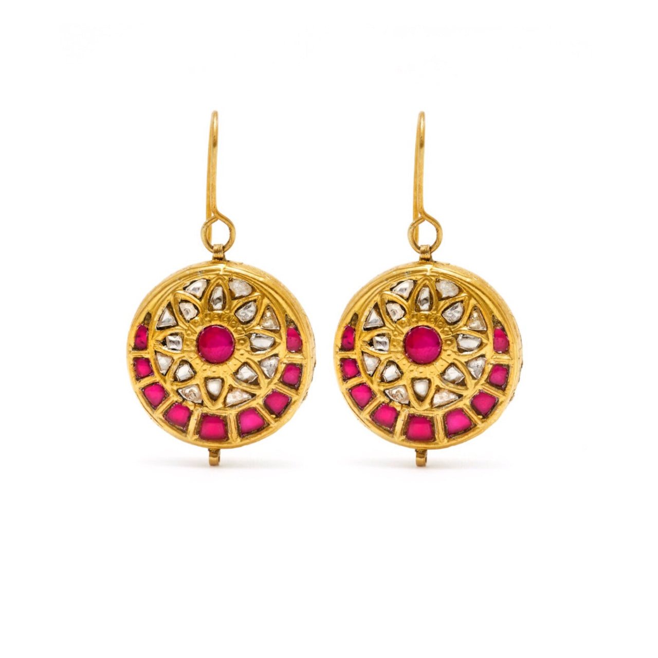 Jaipur Aterlier Pink Ruby Flower Coin Earrings