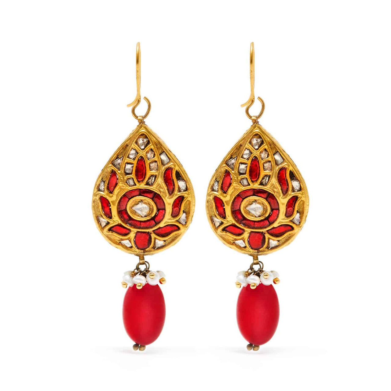 Jaipur Atelier Ruby Coin Tear Drop Earrings