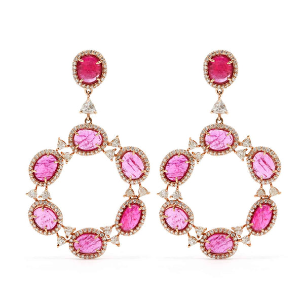 Jaipur Atelier Ruby Diamond Trillion Cut Hoops