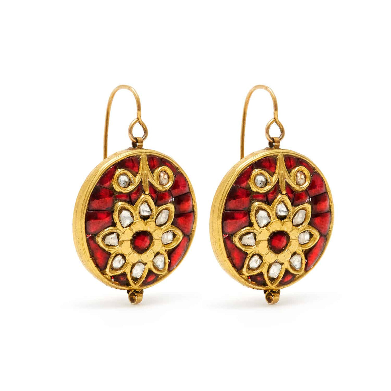 Jaipur Atelier Ruby & Diamond Coin Earrings