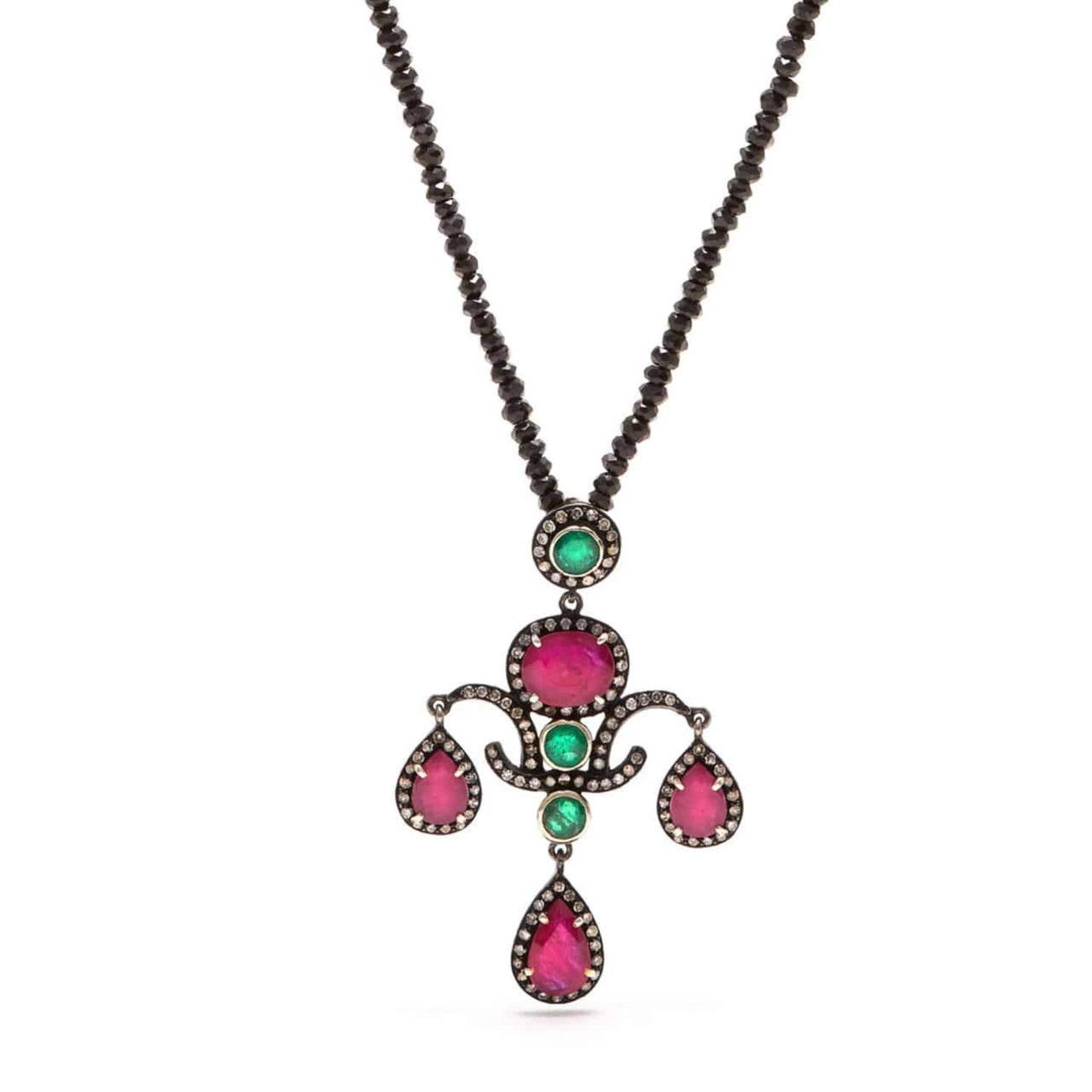 Jaipur Atelier Ruby and Emerald Chandelier Pendant