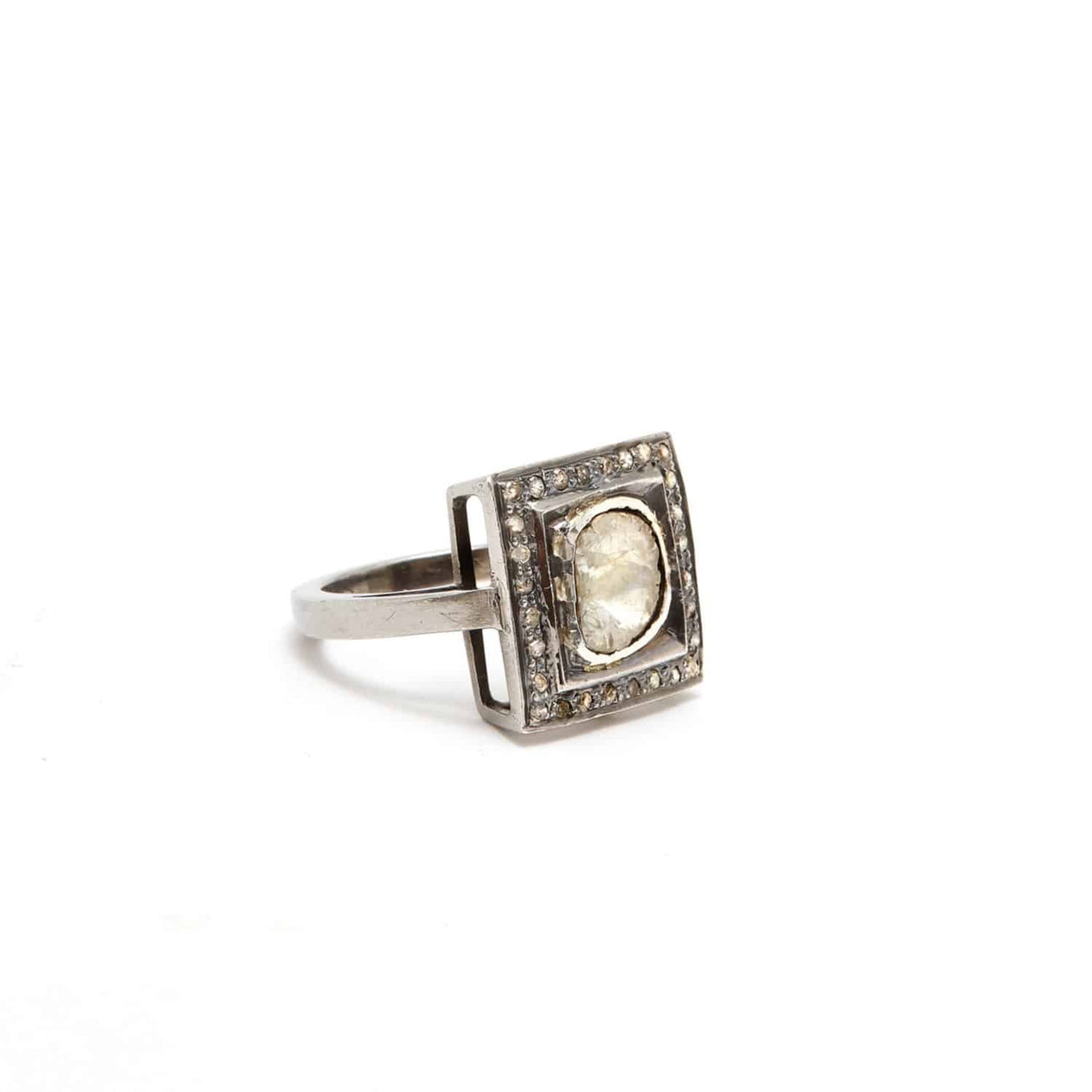vbh with diamond cut gold pin white oxidized square ring flat k