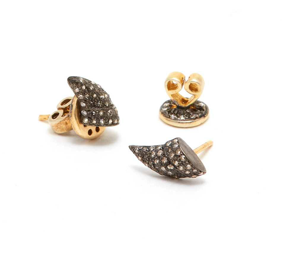 Black Diamond Thorn Lab Flat Earrings-Earrings-Jaipur Atelier