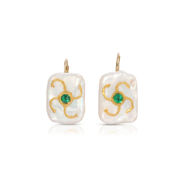 Baroque Pearl Emerald Square Drop Earrings