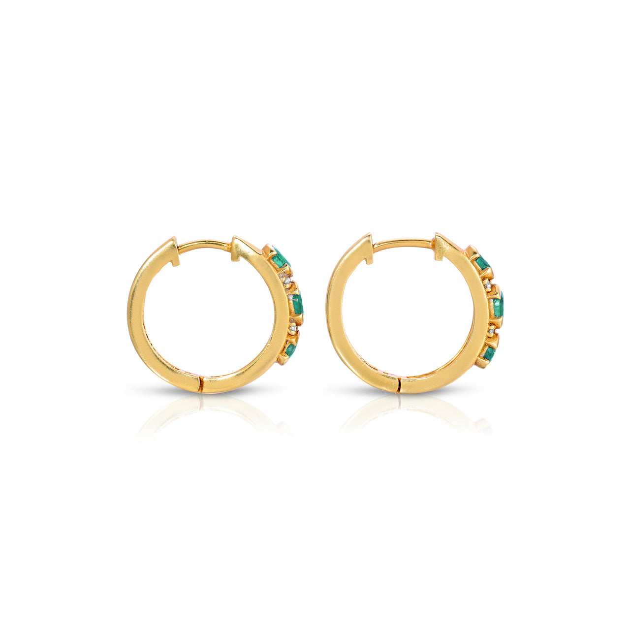 Emerald Diamond Trio Hoop Earrings