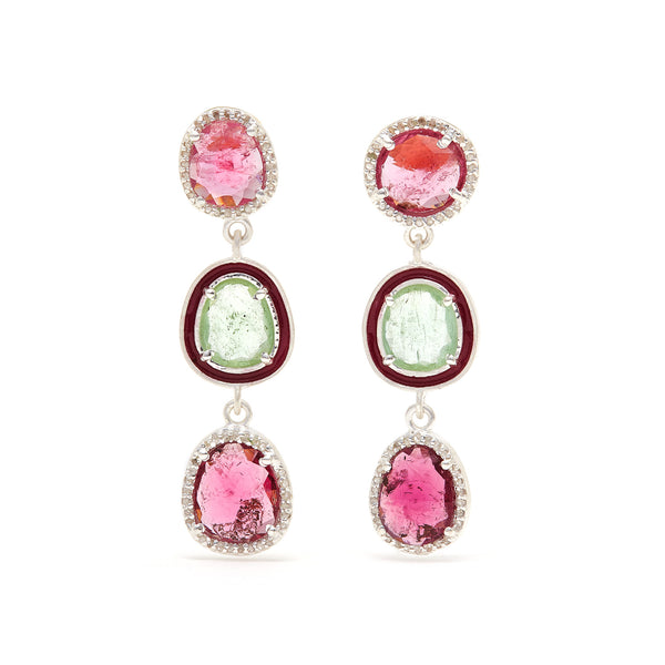 Rose & Mint Tourmaline Enamel Diamond Drop Earrings-Earrings-Jaipur Atelier