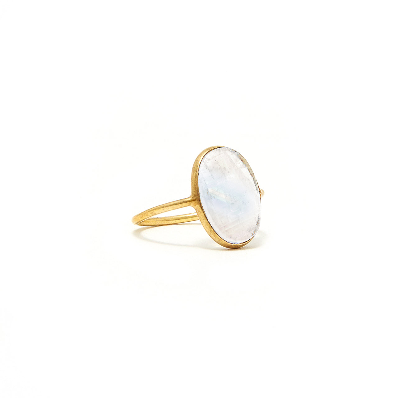 Rainbow Moonstone Signet Ring
