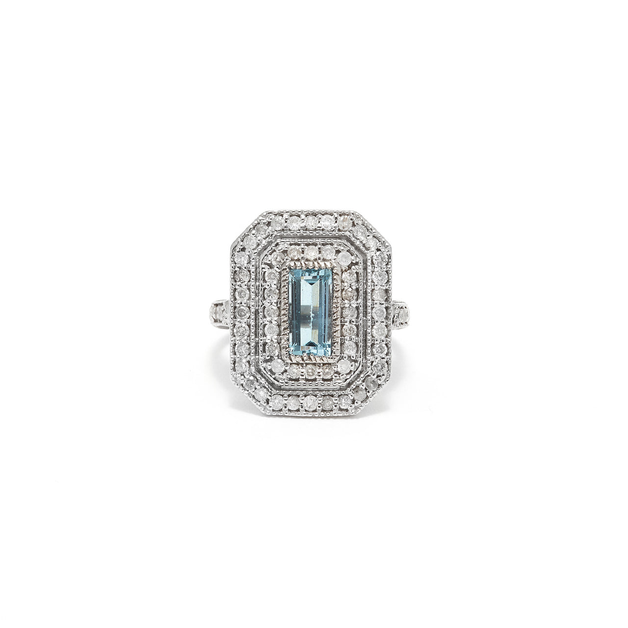Aquamarine Art Deco Diamond Cocktail Ring-Ring-Jaipur Atelier